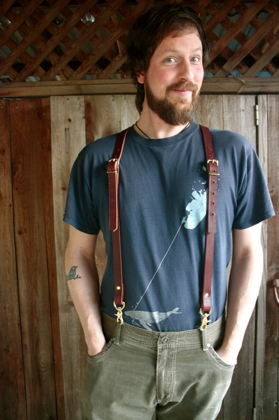Handmade Leather Suspenders Steampunk With Brass By