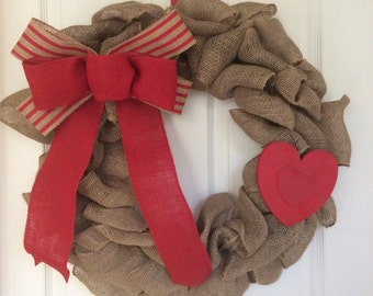 Valentine's Day bow and decor wreath update
