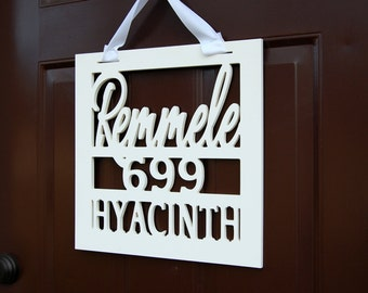 Weatherproof Personalized Name and Address Door Hanger
