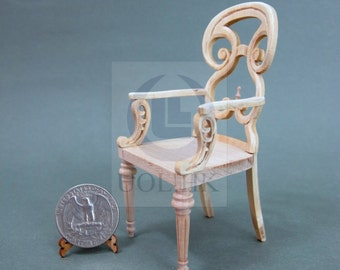 Miniature 1:12 Scale Butterfly Arm Chair For Doll House[Unpainted]