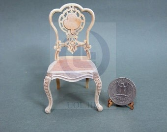"Miniature 1""Scale  Extraordinary Side Chair[Unpainted] For Dollhouse"