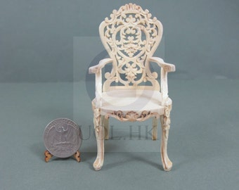 1:12 Scale Miniature Victorian Carved Arm Chair Wood Frame  For Doll House