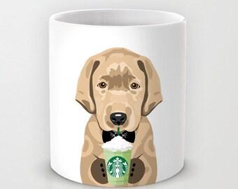 Personalized mug cup designed PinkMugNY - I love Starbucks - Labrador Retriever - Yellow