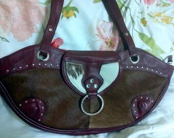 Vintage Banana bag handbag shoulderbag strong design, cowhide  leather. Red Original design.