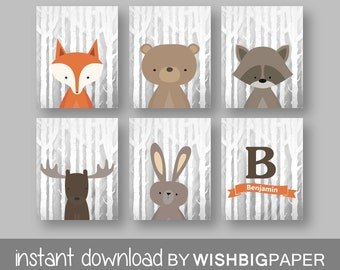 WOODLAND animals Personalised Name Initial Wall Art Print-Set of Six (6) - Digital Download. Woodland Creatures Wall Art Printable. Forest