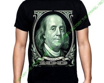 New Men's  Franklin Print T-Shirt all size XS-3XL Black