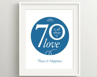Happy 70th Birthday Card, Instant Download Typographic Art, 5x7 and 8x10 files to print as card or poster