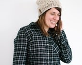 Oatmeal Chunky Knit Slouchy Hat