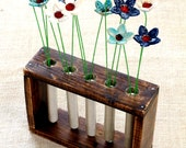 Upcycled Brown Wooden Planter, Cottage Chic Wooden Vase, Reclaimed Wood Home Decor