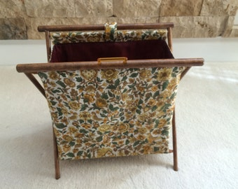 Vintage Sewing Tote Wood and Fabric