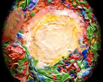 Fire-Glow encaustic painting on cedar wood round slice