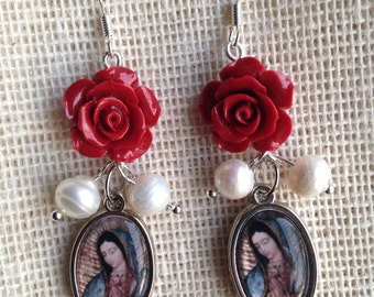 Virgen de Guadalupe Red Rose and Pearl Earrings