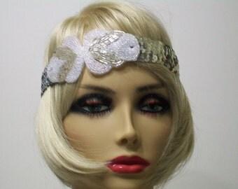 1920s Headband, Flapper Headband, Flapper Headpiece, Roaring 20s, Sequin Headband, Art Deco Headband, Silver Headband, 1920s Hair Accessory