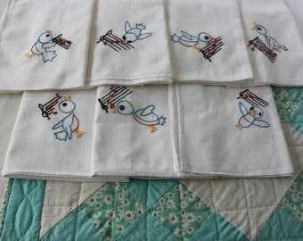 Days of the Week Embroidery Bird Song Tea Towels