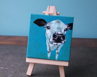 Mini original cow painting with easel