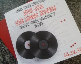 Handmade Personalised Record Theme Birthday Card Any Age
