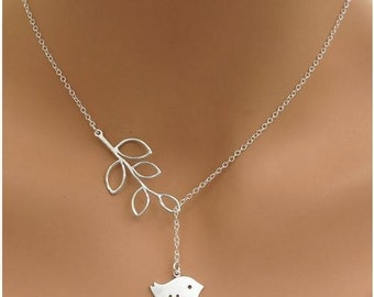 Lariat Style Silver Infinity or Branch and Tree Necklace