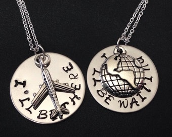 I'll Be There - I'll Be Waiting - Couples Set LDRship Long Distance Love or Friendship-gift for LDR-Long Distance Relationship Necklace Set
