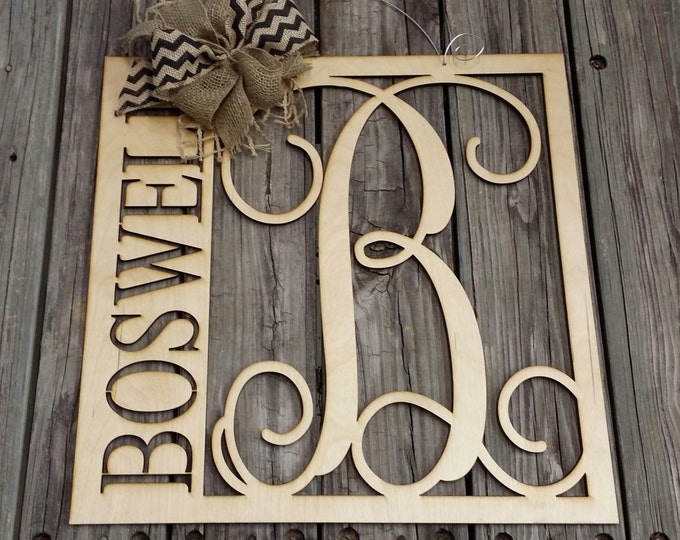 "20"" Wooden Monogram Door Hanger - Family Monogram - Wedding Gift - Housewarming Gift - Personalized Gift - Personalized Door Hanger"