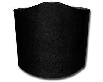 Plain Thick Leather Bracelet Wristband Cuff 80mm Black with Snap Fastener (Nickel Free)