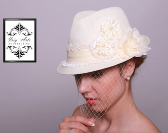 One of a Kind Ivory Bridal Fedora Hat Embellished with Lace, Satin Flowers, Pearls and Mesh Netting