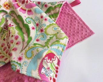Monogrammed Baby Girl Blanket - Paisley Blanket -Personalized Minky Blanket - Pink Blanket - Toddler Blanket - Cotton Blanket - Gift Wrapped