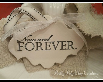 Wedding Clay Gift Tag - Now and Forever