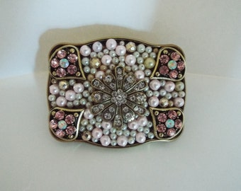 Antique Brass Buckle with Pink Pearls and Pink Rhinestones