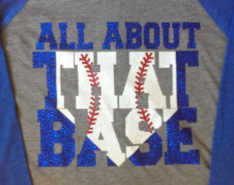 All about that Base, baseball shirt, raglan, 3/4 Sleeve UNISEX Baseball Tee- Glitter Design