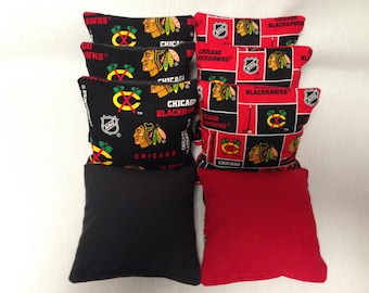 CHICAGO BLACKHAWKS 8 Cornhole Bags NHL 4 Of Each Print With Duck Backs