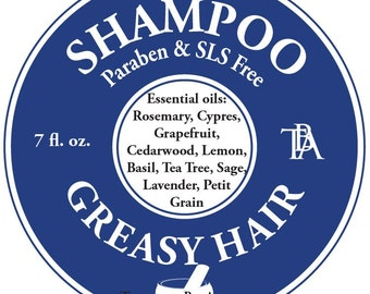Shampoo Greasy Hair  - made with Natural Essential Oils and Hemp seed oil