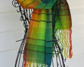 Handwoven scarf, Handwoven wrap, Handwoven stole, Cotton scarf, Spectrum's warm end, Oranges, Yellows, Greens, Knotted fringe, Wide scarf