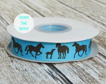 "Horses Turquoise Brown Printed Grosgrain Ribbon 7/8"" ~ Hair Accessories Supplies ~ RTS Ribbon ~ Craft Ribbon ~ Make Own Hair Bows"