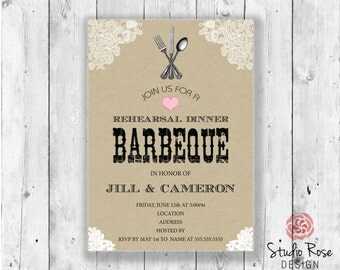 Barbeque Rehearsal Dinner Invitation- Rustic Style- Digital File Available!
