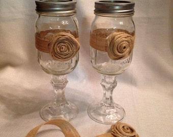 Redneck Wine Glass with Burlap Rosette Wrap, Hillbilly wine glass, Wedding Gift, Wine Glass, Glass Ware,