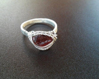 Red Garnet Ring (Size 10) - Wire Wrap Ring