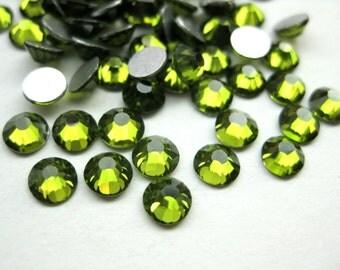 18pcs Olive Green Glass Flatback Rhinestone -A Grade SS30(6mm)No-Hotfix(lo1)
