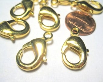 5pcs Large Gold plated Lobster Claw Clasps Jewelry Findings