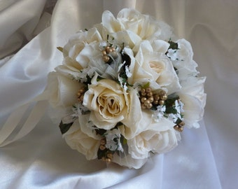 Ivory rose Bridal Bouquet with Gold Berries