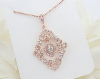 Rose Gold bridal necklace, Crystal Wedding necklace, Rose Gold Pendant necklace, Wedding jewelry, Simple necklace, Bridesmaid necklace