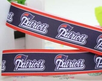 "5 Yards of 7/8"" New England Patriots Grosgrain Ribbon"