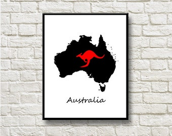 Australia Map Silhouettes Printable Instant Download Wall Art Home Decor DNGLMB103kangoroo