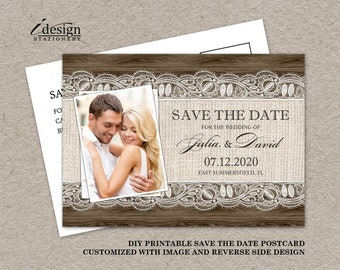 DIY Printable Rustic Save The Date Postcards, Photo Wedding Save The Dates With Burlap And Lace