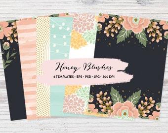 6 Trendy Event Templates // Digital Invitation Templates // Wedding Invitation Template // Blank Card Design