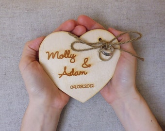 Ring Bearer Pillow Rustic Personalized Engraved Wooden Heart Ring Bearer Alternative Cottage Chic Wedding