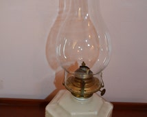 Vintage Pair Of Milk Glass Hurricane Oil Lamp
