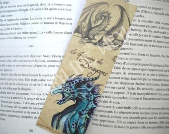 nice bookmark turquoise blue dragon