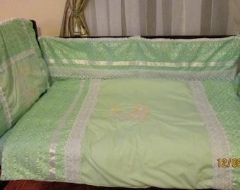 Unique Half Moon Embroidered Nursery Bedding Set