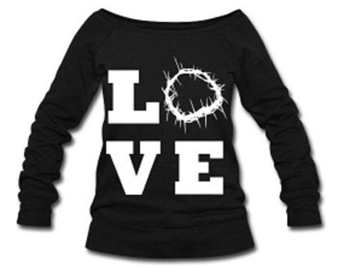 Christ Love Wide Neck Off Shoulder Slouchy Women's Sweatshirt - Black