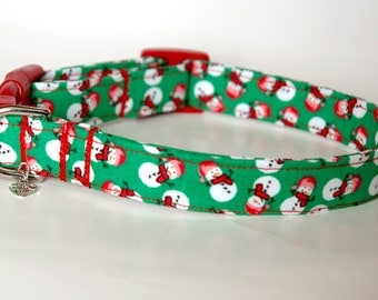 "Handmade Green Christmas Snowman Design Dog Collar ""New"""